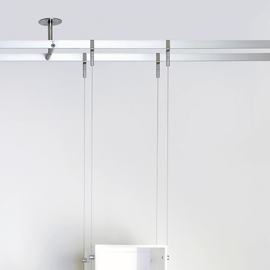 Shelving System Hanging Contemporary Glass For Shops Intended For Glass Shelf Cable Suspension System (#6 of 15)