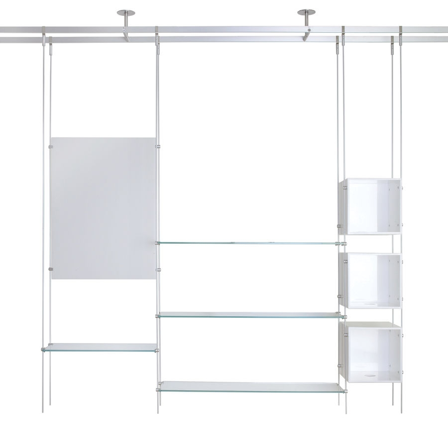 Shelving System Hanging Contemporary Glass For Shops Rod Inside Glass Suspension Shelves (#10 of 15)
