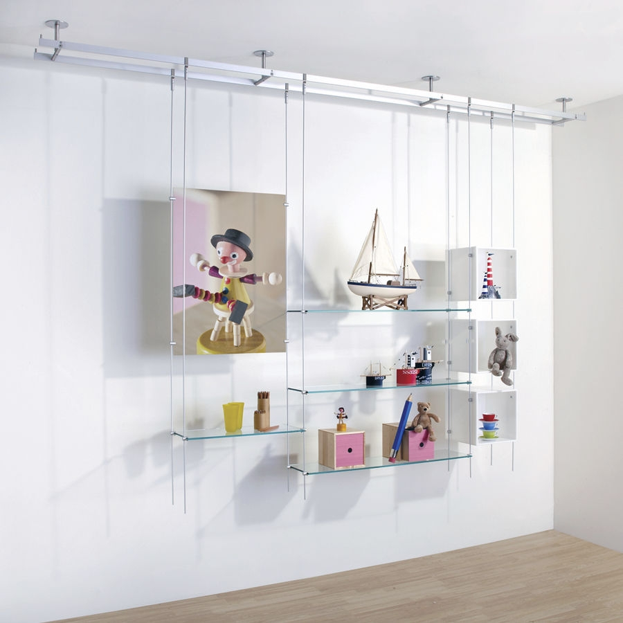 Shelving System Hanging Contemporary Glass For Shops Rod Regarding Cable Suspended Glass Shelving (#9 of 15)