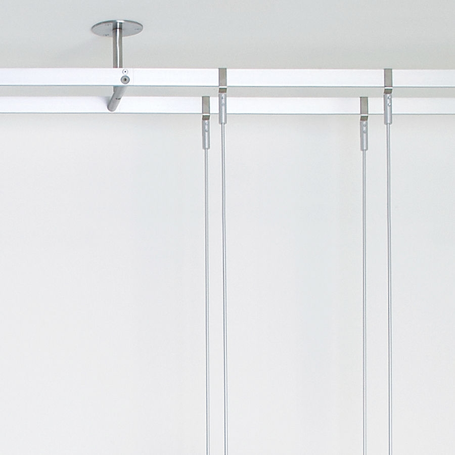 Shelving System Hanging Contemporary Glass For Shops Rod Within Glass Suspension Shelves (#12 of 15)