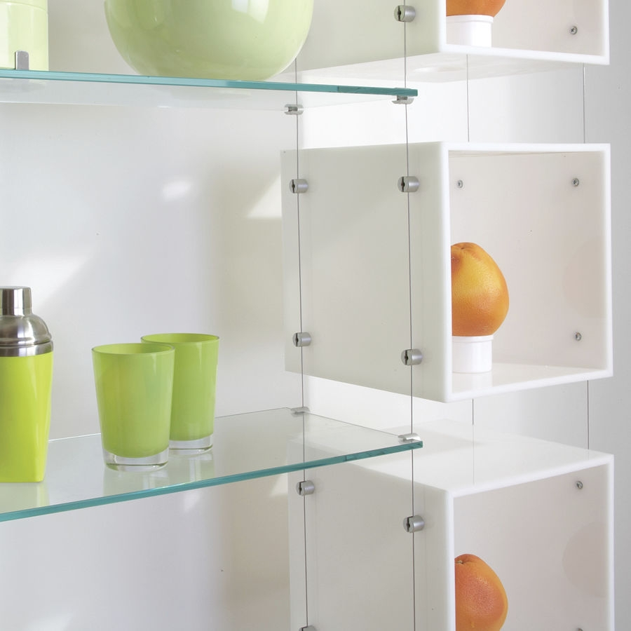 Shelving System Hanging Contemporary Glass For Shops With Glass Shelf Cable Suspension System (#7 of 15)