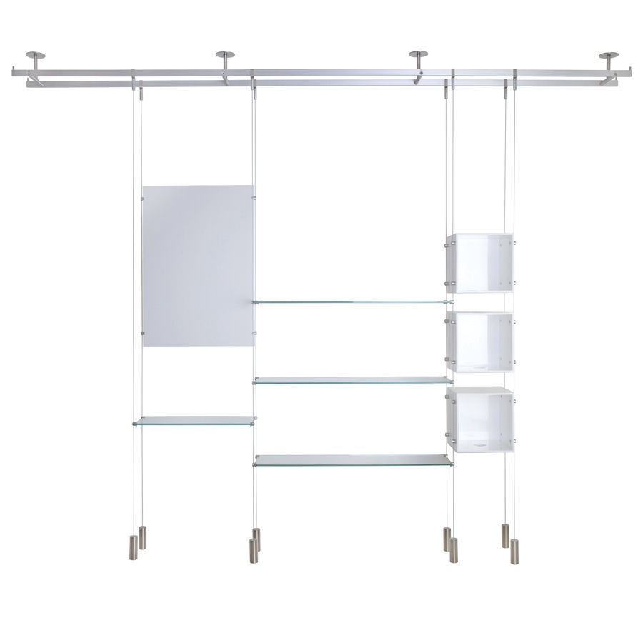 Shelving System Hanging Contemporary Glass For Shops With Regard To Glass Shelf Cable Suspension System (#8 of 15)
