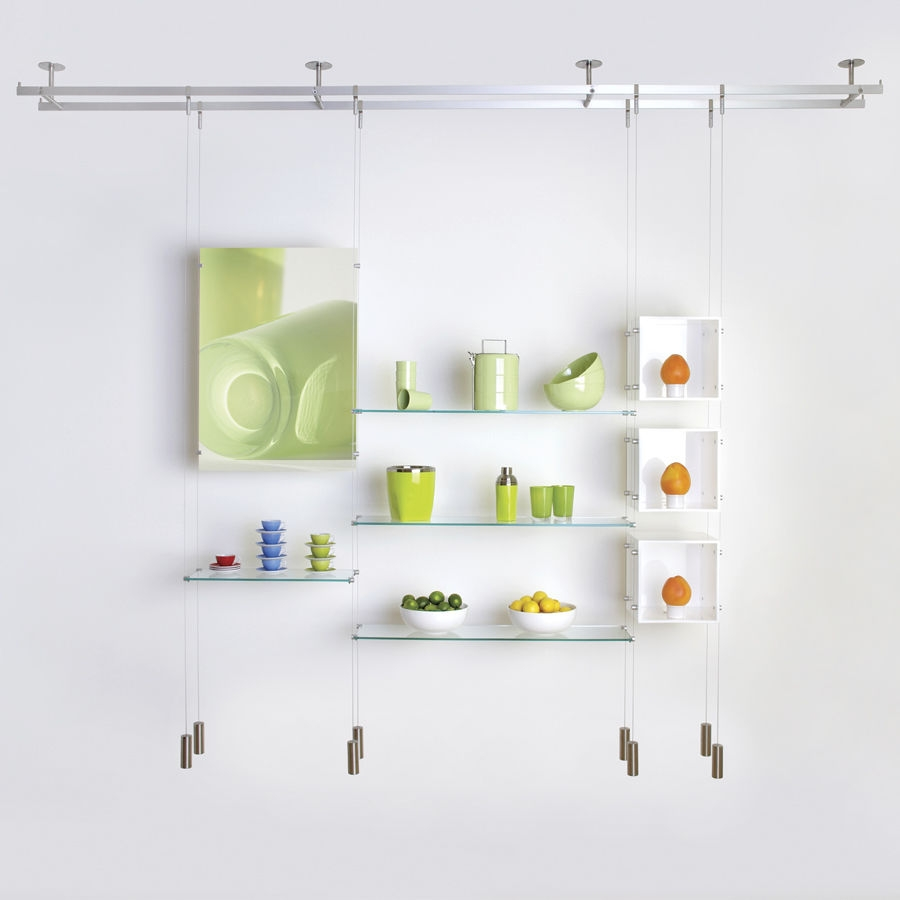 Shelving System Hanging Contemporary Glass For Shops Within Glass Shelf Cable Suspension System (#9 of 15)
