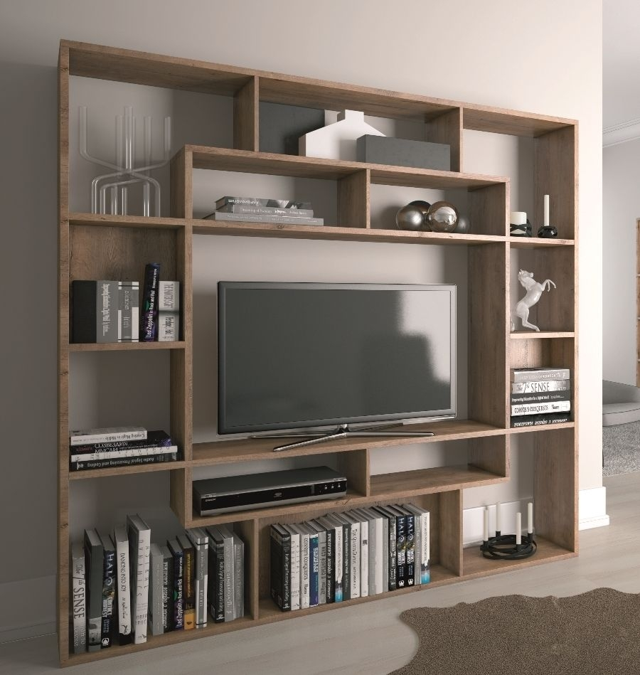 Shelving Unit Bookcase Display Storage Wood Shelf Tv Unit Inside Bookcase With Tv Shelf (#12 of 15)