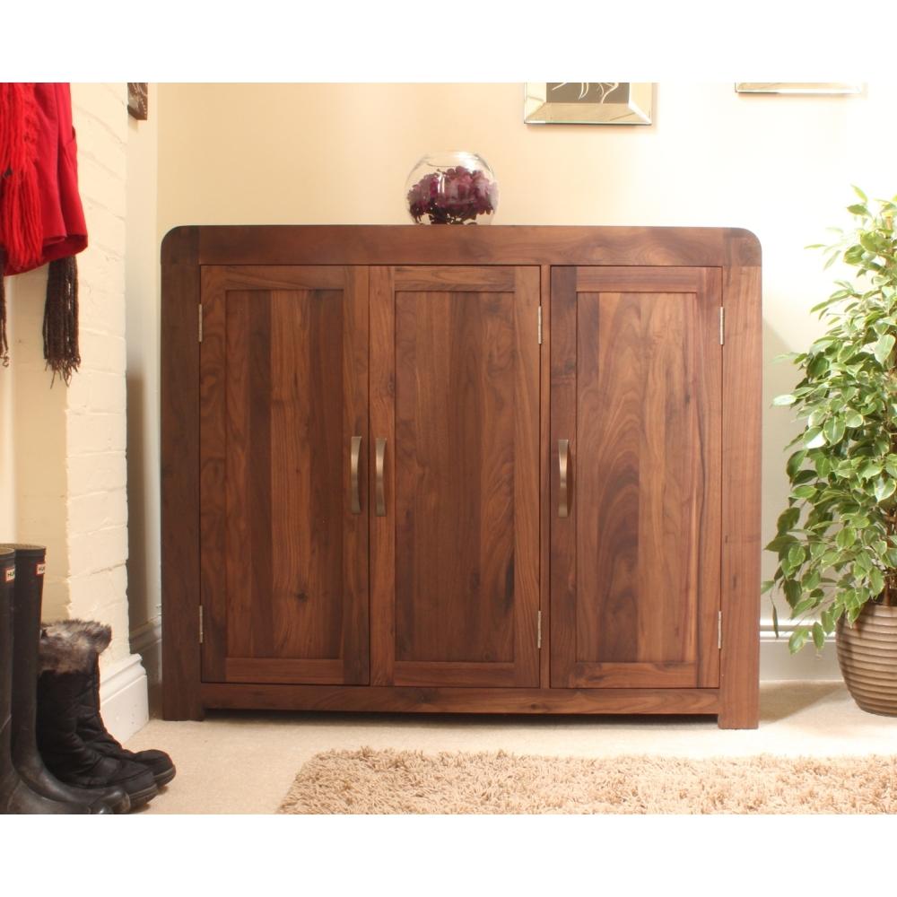 Shiro Shoe Storage Cabinet Cupboard Rack Large Solid Walnut Dark Inside Solid Dark Wood Wardrobes (View 11 of 15)