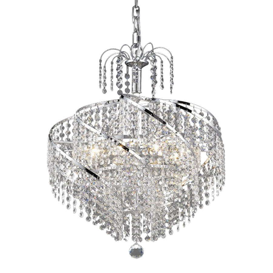 Shop Elegant Lighting Spiral 18 In 8 Light Chrome Crystal Crystal Pertaining To Waterfall Crystal Chandelier (#10 of 12)