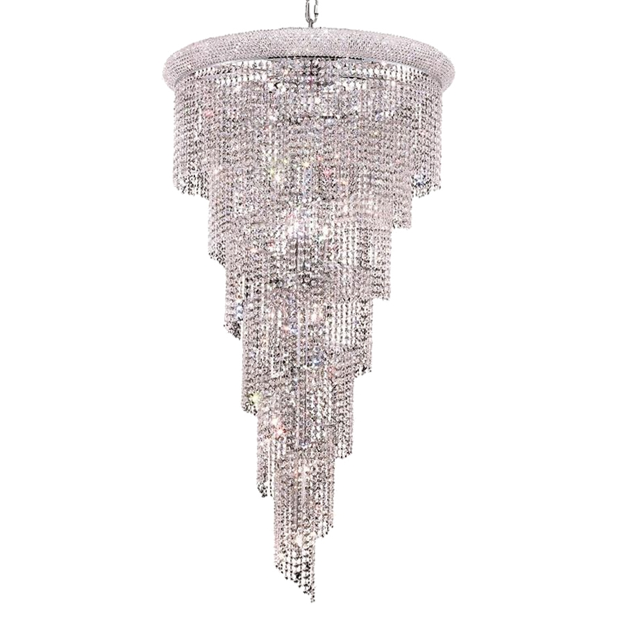 Shop Elegant Lighting Spiral 30 In 22 Light Chrome Crystal Crystal Intended For Waterfall Crystal Chandelier (#11 of 12)