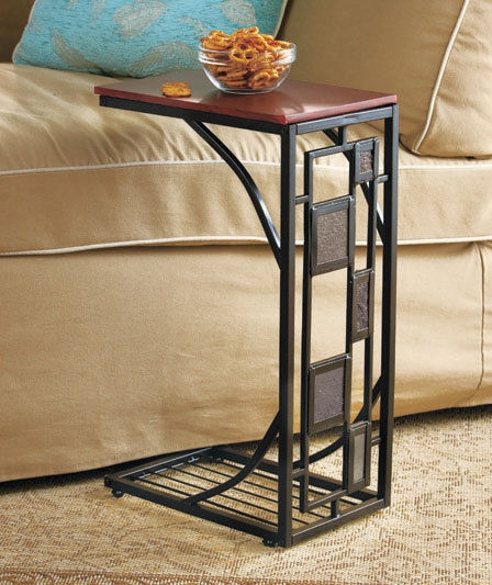Side Sofa Table Slate Trimmed Tv Remote Snack Drink Holder Slides With Sofa Snack Tray Table (#11 of 15)