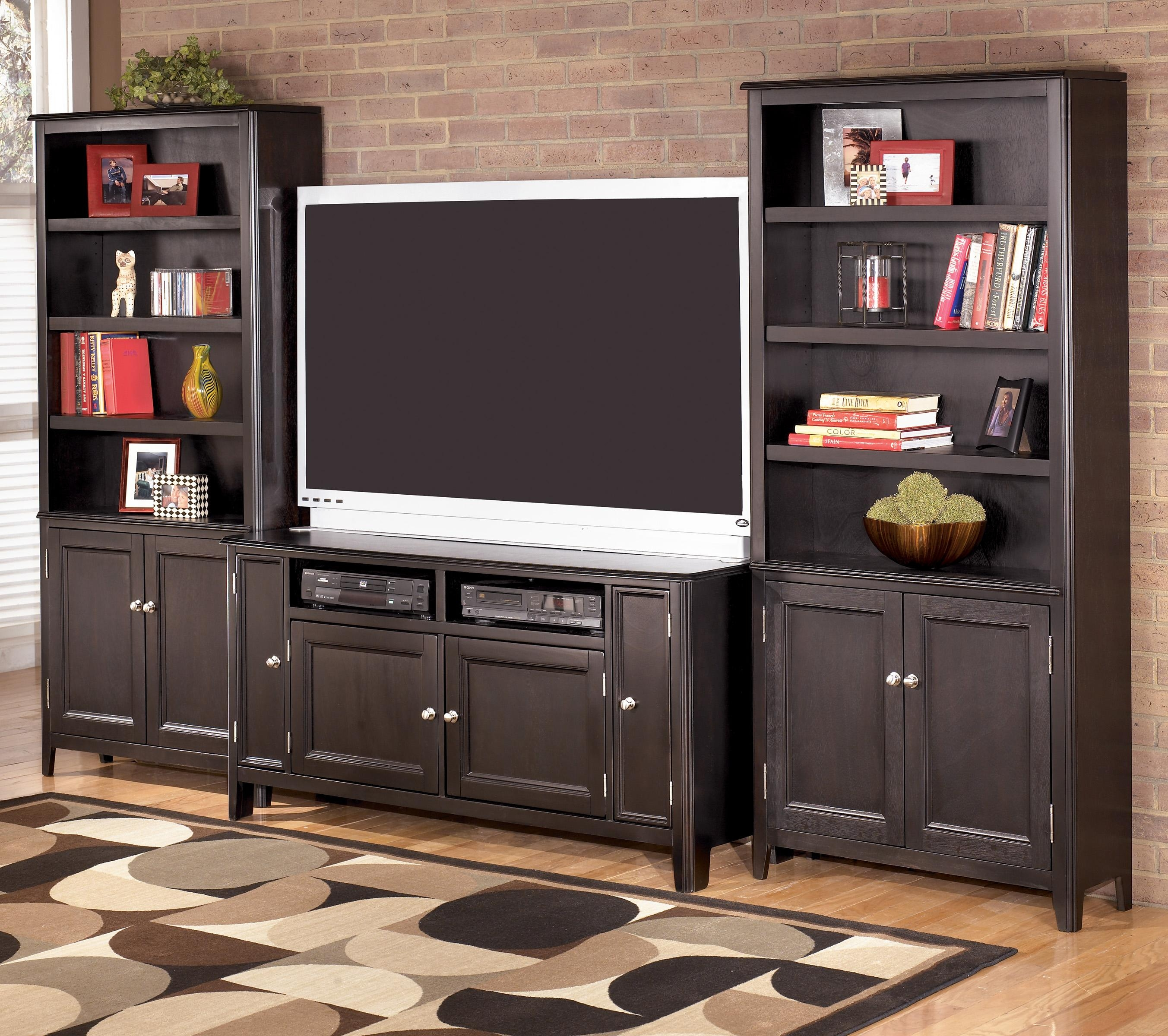 Signature Design Ashley Carlyle 60 Inch Tv Stand 2 Large Door In Bookcase Tv Stand (#12 of 15)