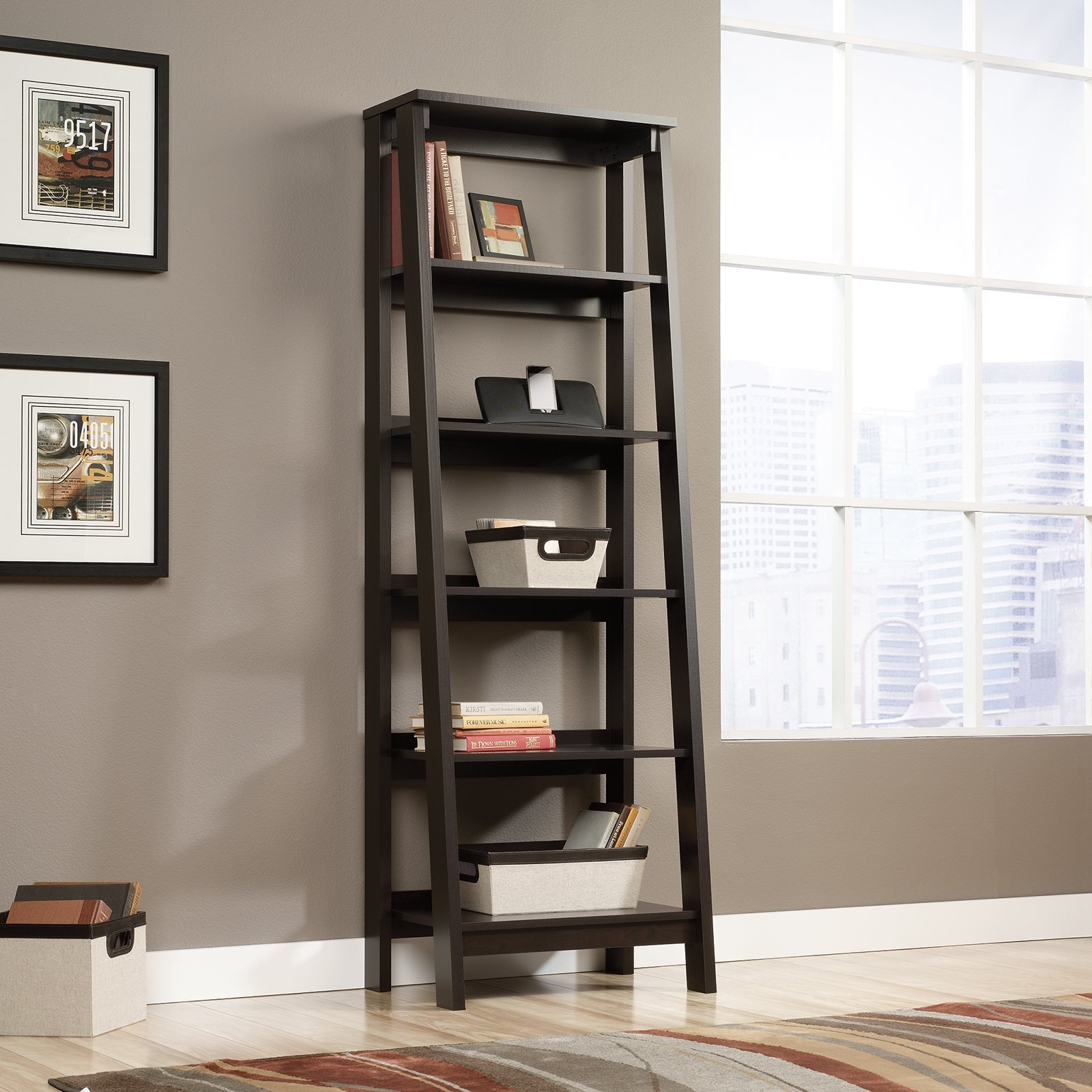 Simpli Home Sawhorse 2 Drawer Ladder Shelf Bookcase Bookcases At Intended For Ladder Bookcase (#12 of 15)