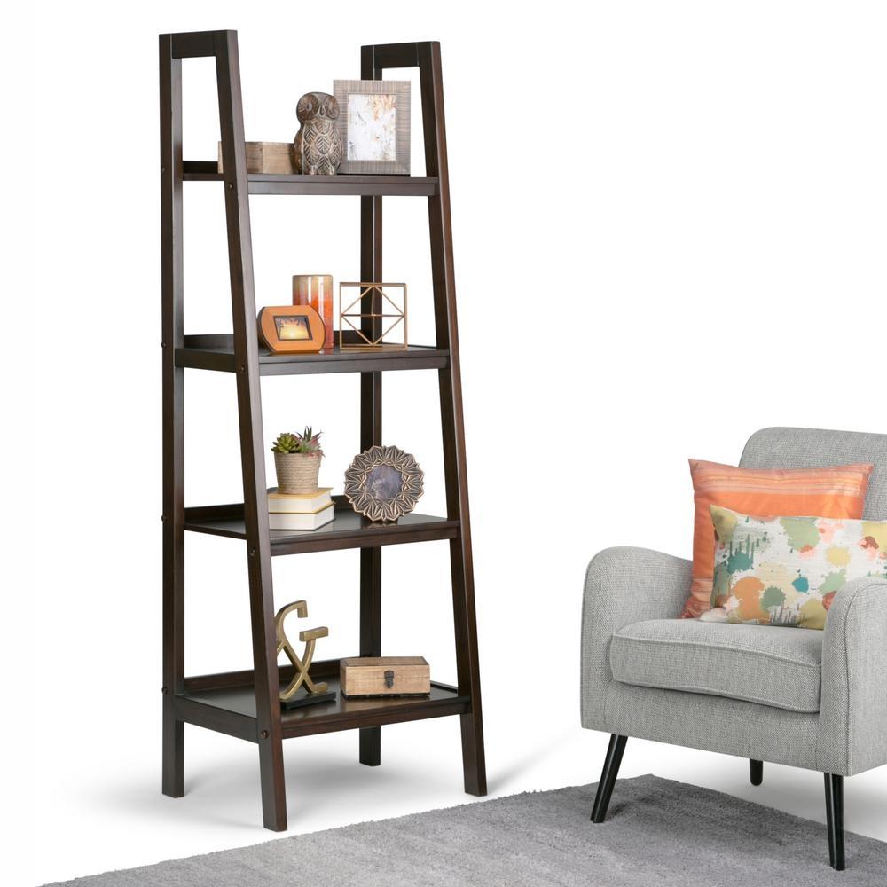 Simpli Home Sawhorse Dark Chestnut Brown Ladder Bookcase 3axcsaw For Ladder Bookcase (View 13 of 15)