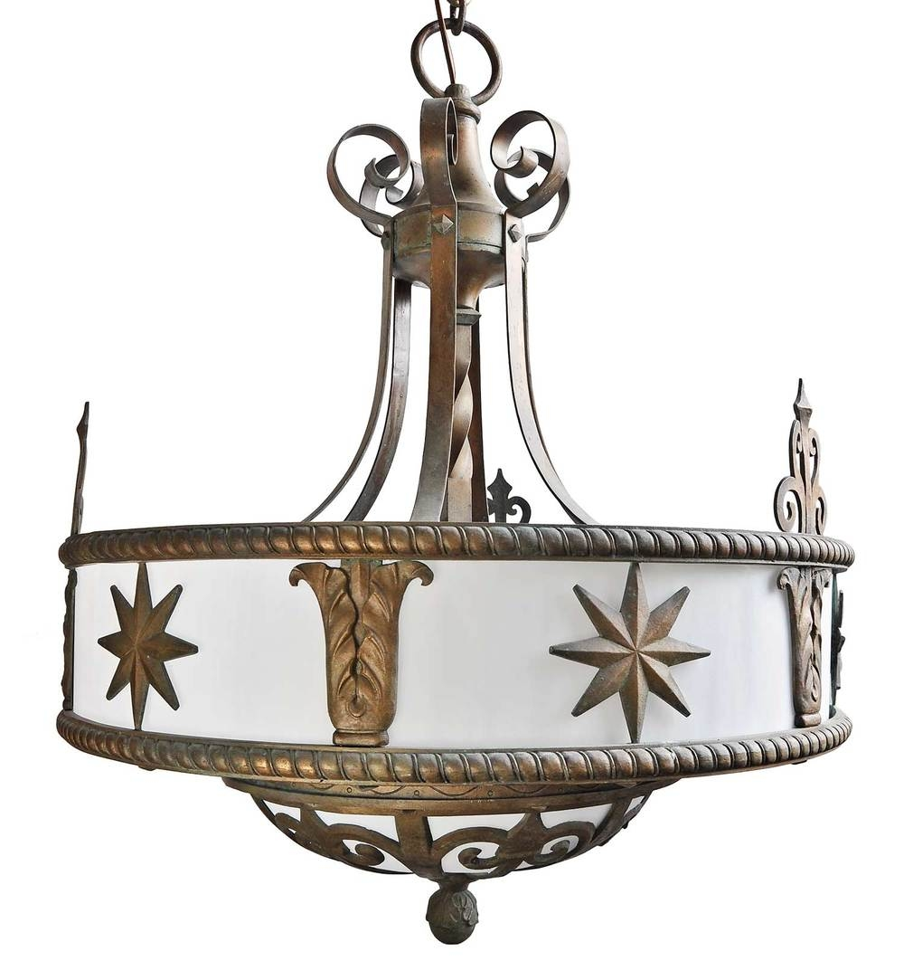 Six Candle Silver Plated Chandelier With Filigree Architectural With Regard To Large Bronze Chandelier (#12 of 12)