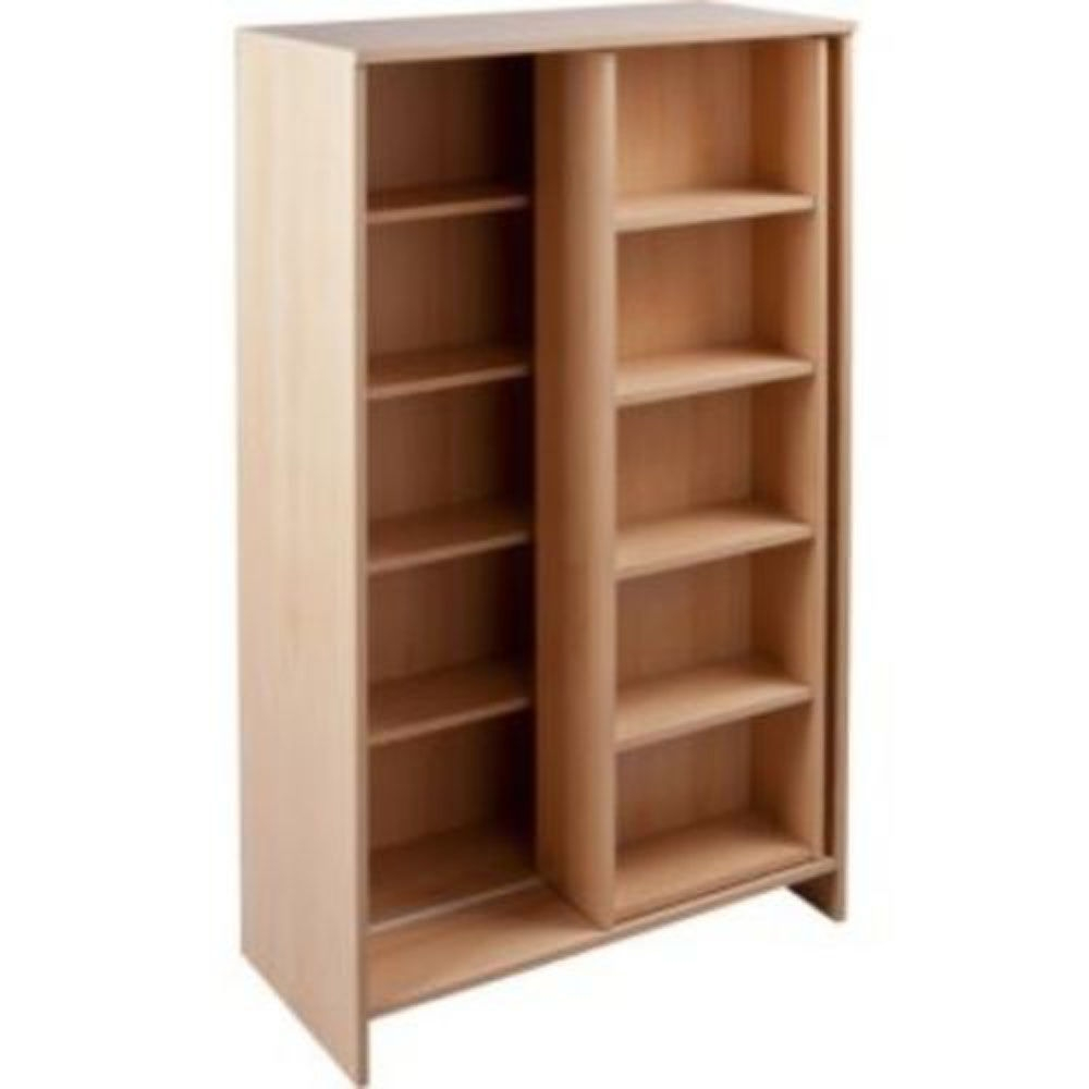Slide Large Cd Media Storage Bookcase Display Shelves Beech Within Beech Bookcases (#11 of 15)