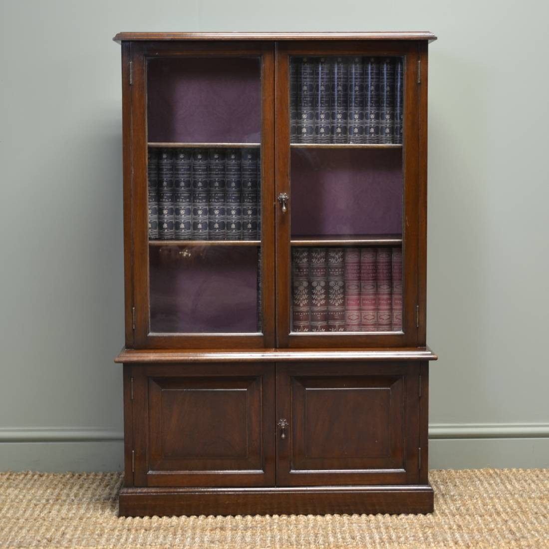 Small Antique Edwardian Walnut Glazed Bookcase On Cupboard C Inside Glazed Bookcases (#15 of 15)