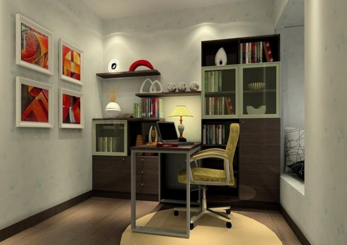 Small Home Study Room Ideas With White Wall Paint And Mini For Study Shelving (#14 of 15)