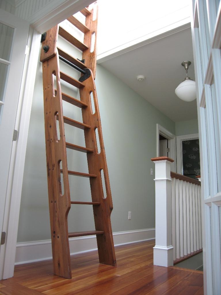 Small Scale Homes Space Saving Stairs Ladders For Small Homes With Wooden Library Ladders (View 6 of 15)