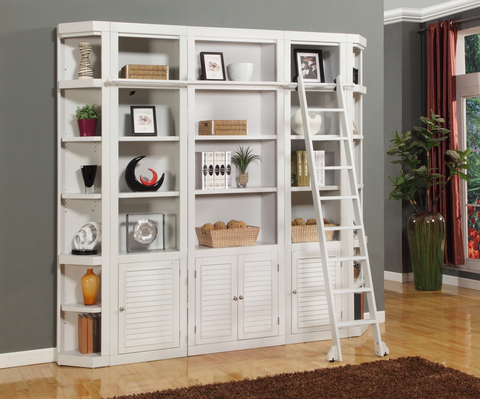 Smart Bedroom Storage Wall Desk With Bookcase White Library Regarding White Library Bookcase (View 3 of 15)