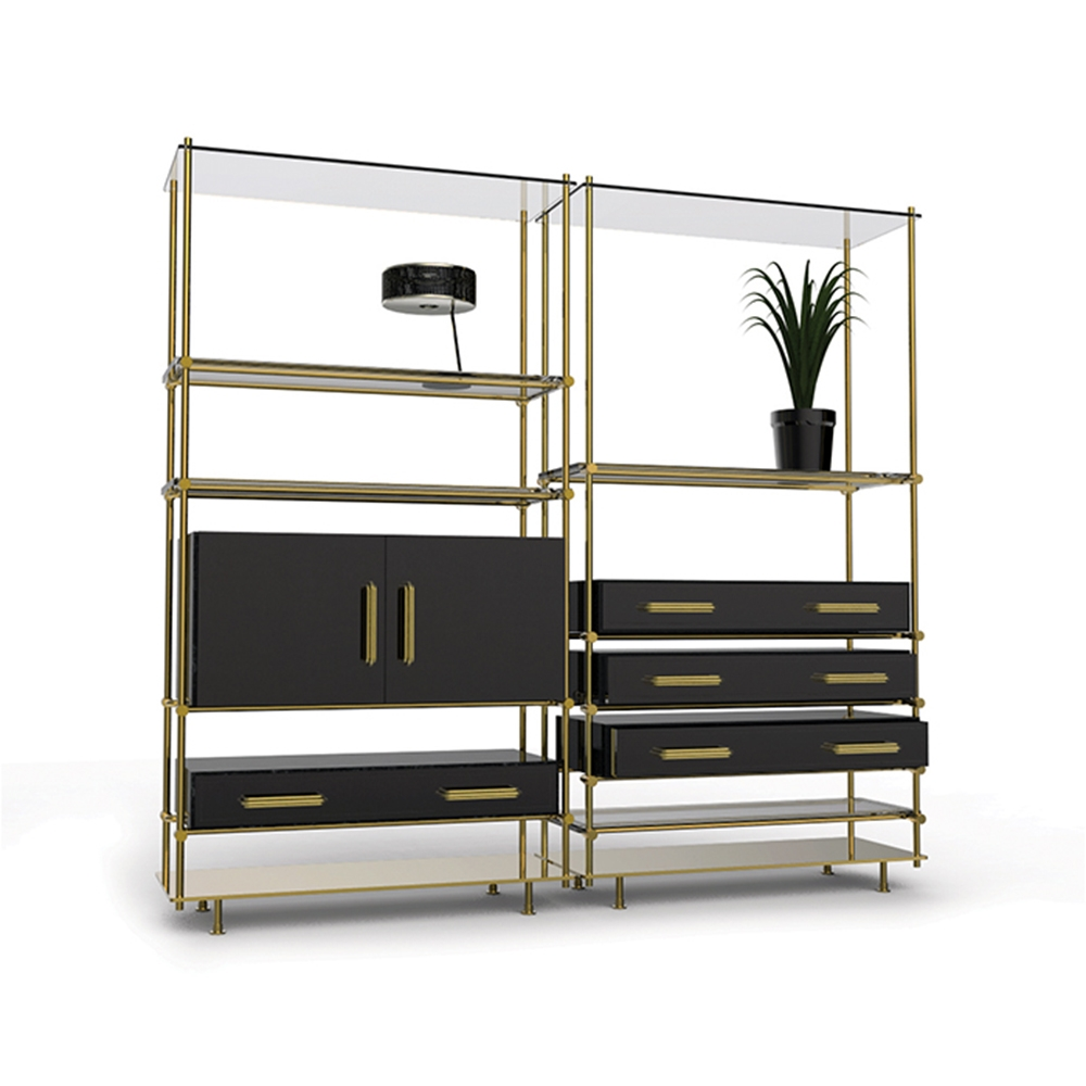 Smoked Glass Shelves And Glossy Black Drawers Create Mulligan In Smoked Glass Shelves (#12 of 15)