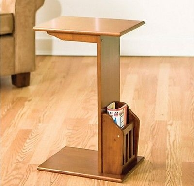 Sofa End Table Magazine Rack Snack Tv Tray Laptop Stand Wood In Sofa Snack Tray Table (#14 of 15)