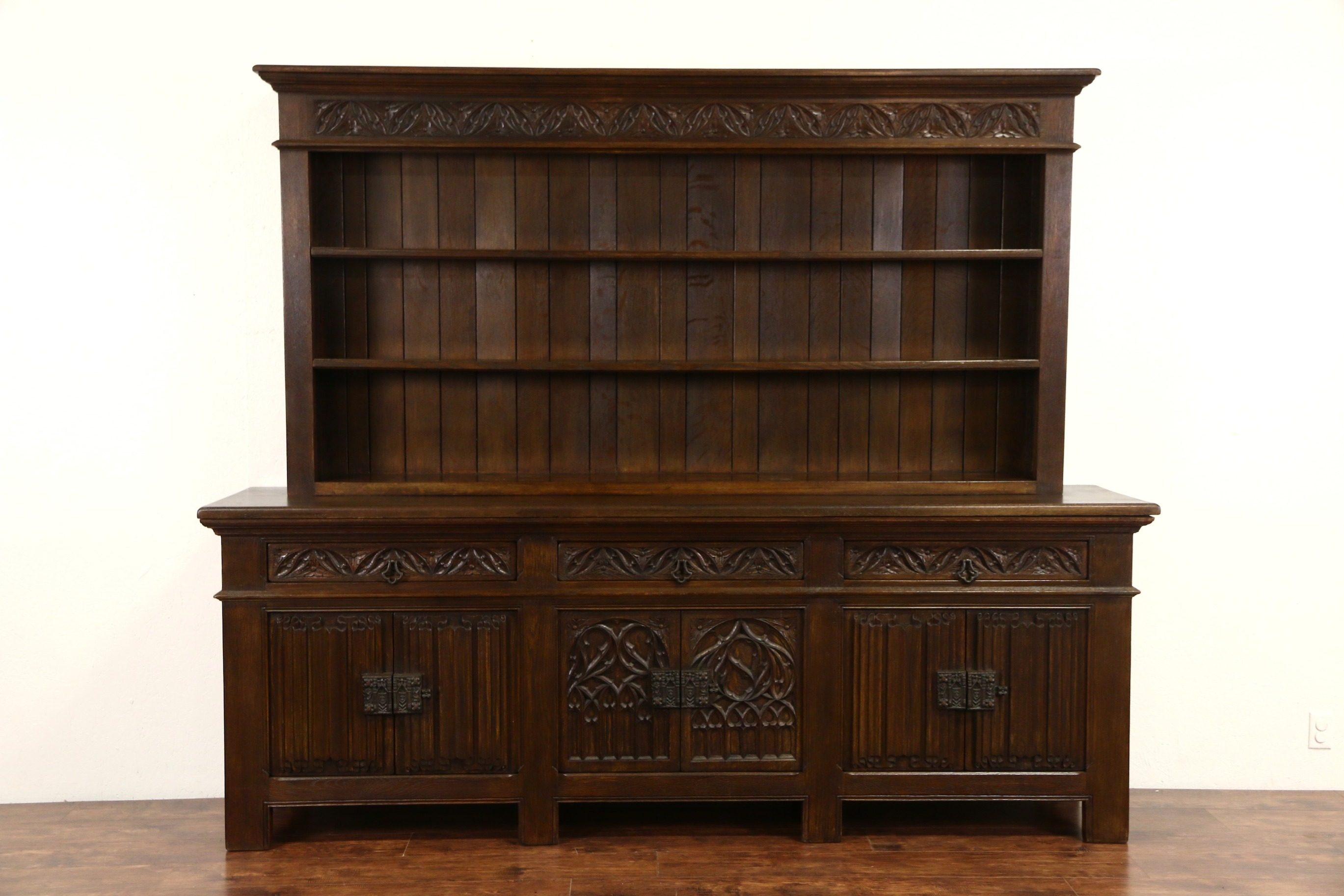Sold Dutch Oak 1920s Antique Gothic Carved Pewter Cupboard In Cupboard Bookcase (#9 of 15)