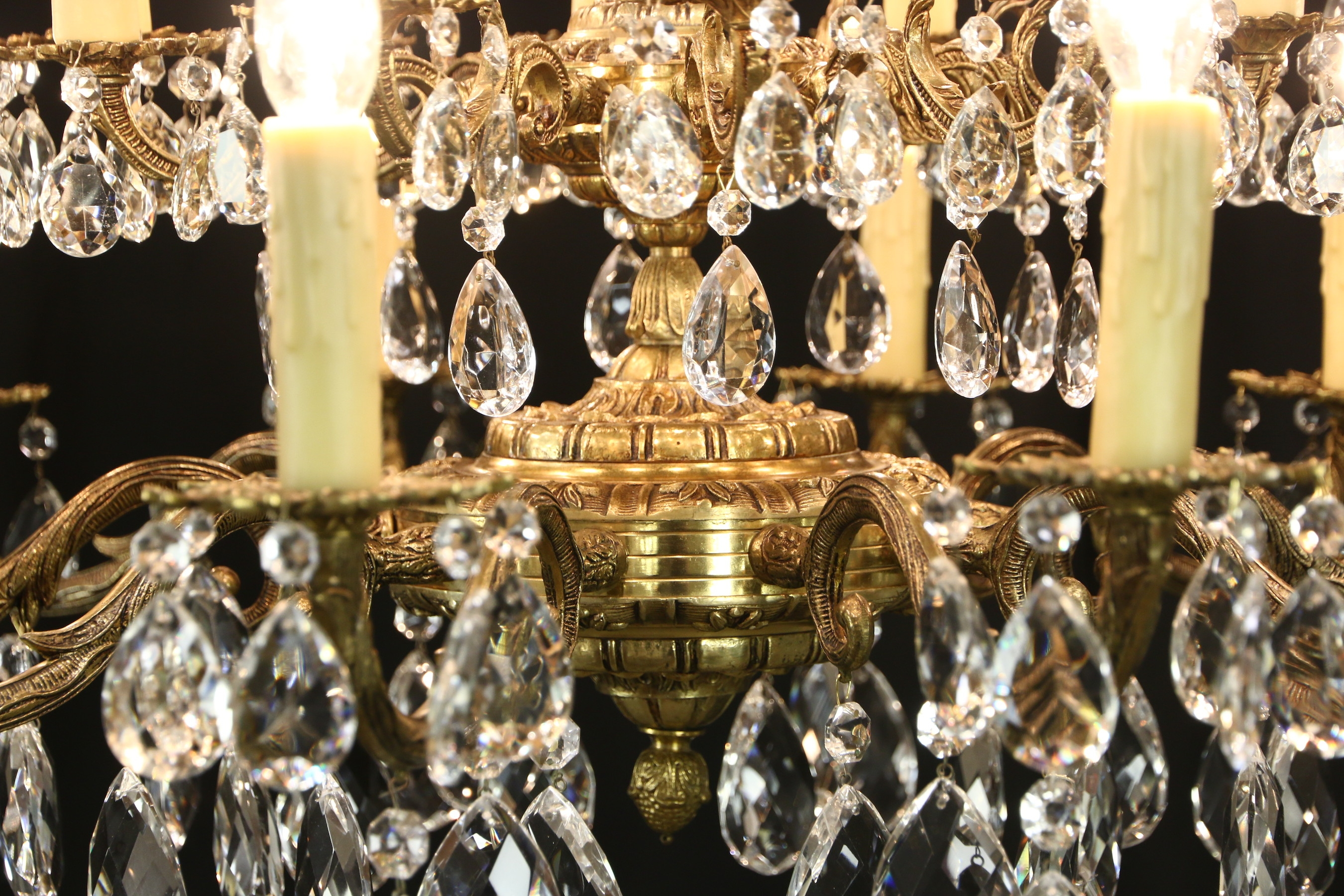 Sold Embossed Brass Cut Crystal 20 Light Candle Vintage With Regard To Vintage Brass Chandeliers (#9 of 12)