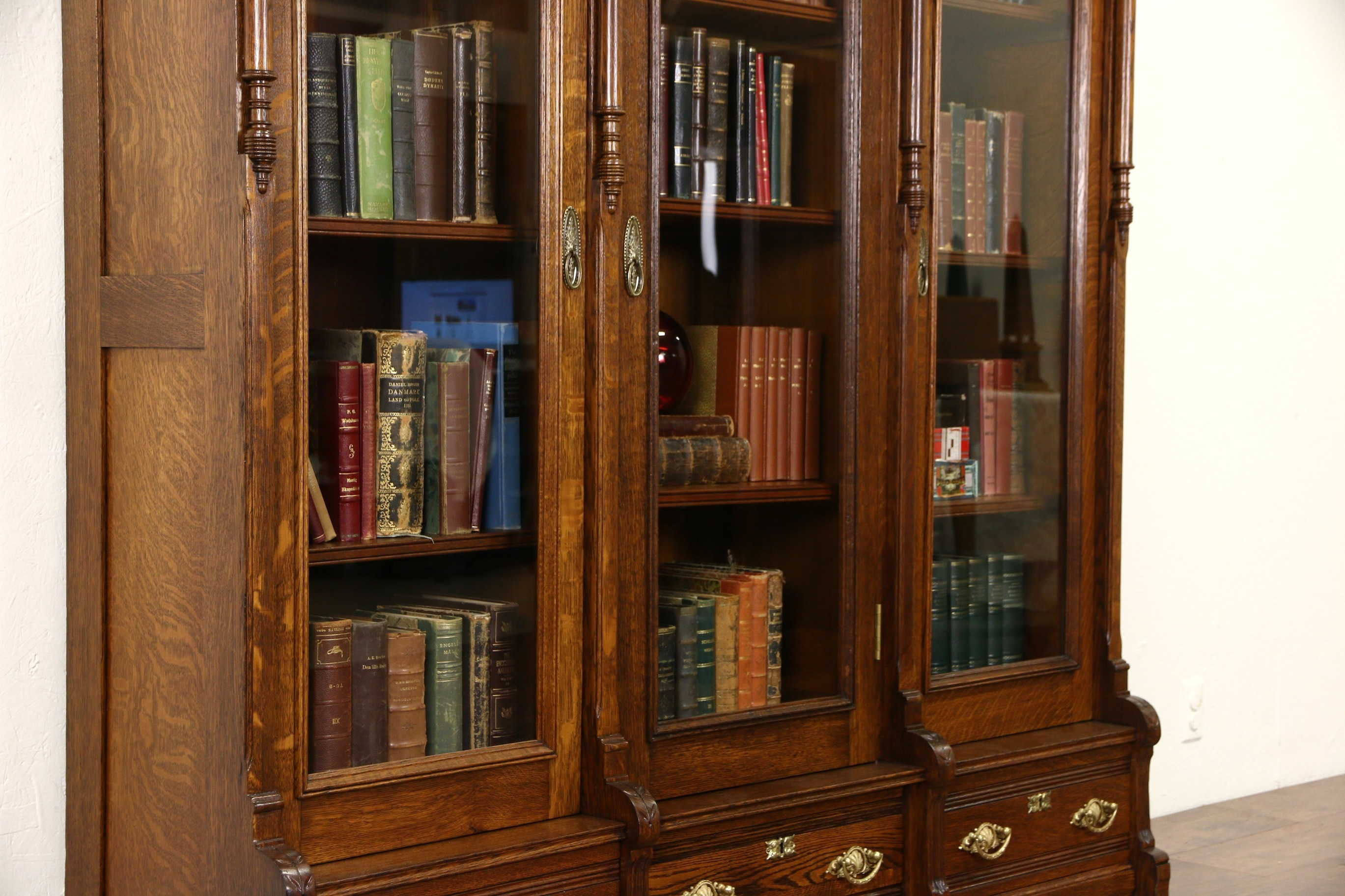 Sold Victorian Eastlake 1880s Antique Carved Oak Triple Library Intended For Oak Library Bookcase (View 12 of 15)