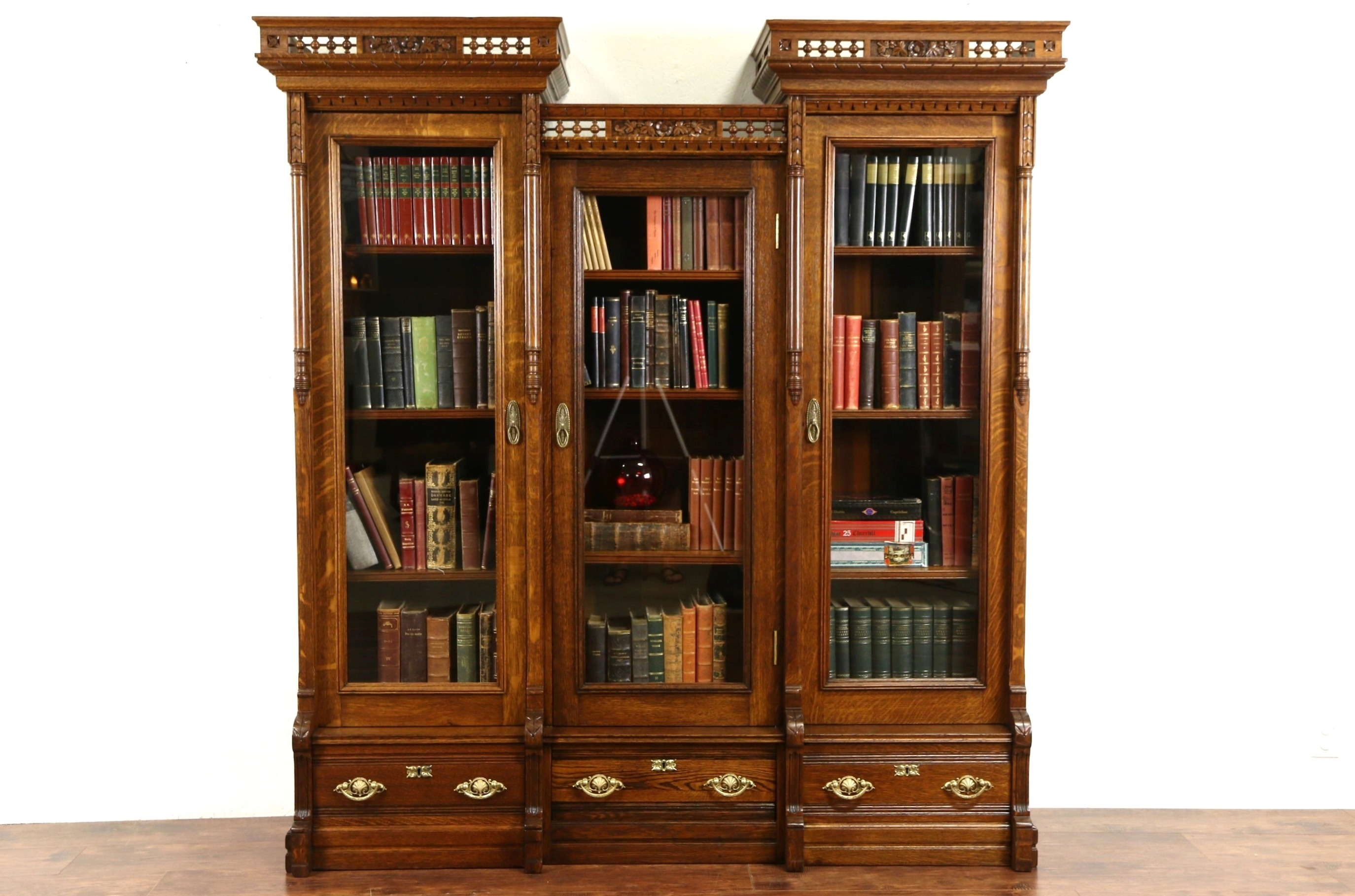 Sold Victorian Eastlake 1880s Antique Carved Oak Triple Library Within Oak Library Bookcase (View 6 of 15)