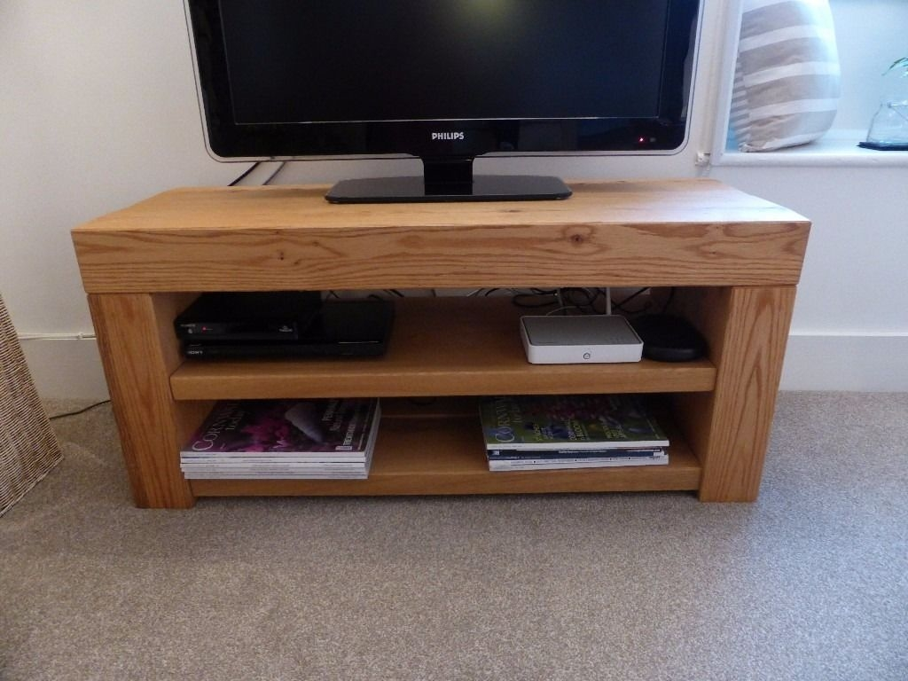Solid Oak Tv Unit Cabinet Stand Handmade In Dorset In Intended For Handmade Tv Unit (View 4 of 15)