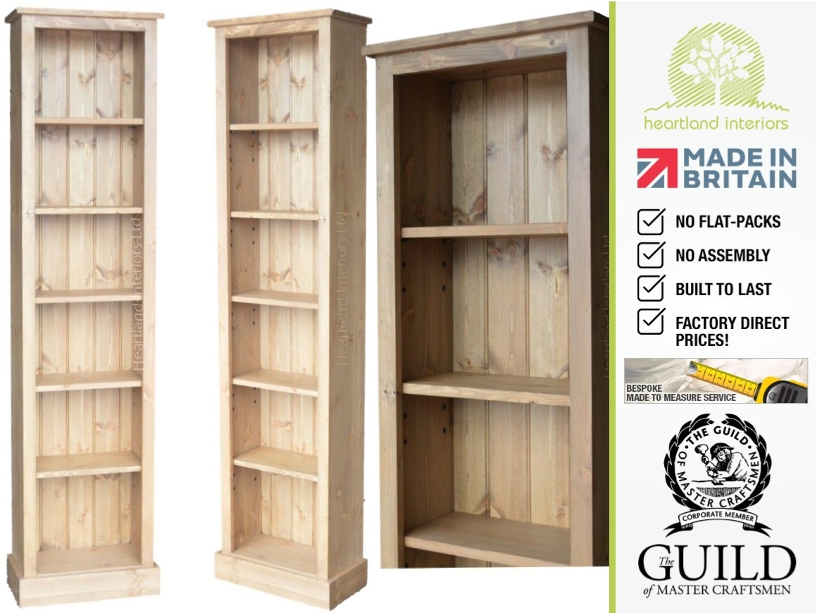 Solid Pine Or Oak 6ft Tall Narrow Slim Jim Bookshelves Intended For Flat Pack Bookcase (#13 of 15)