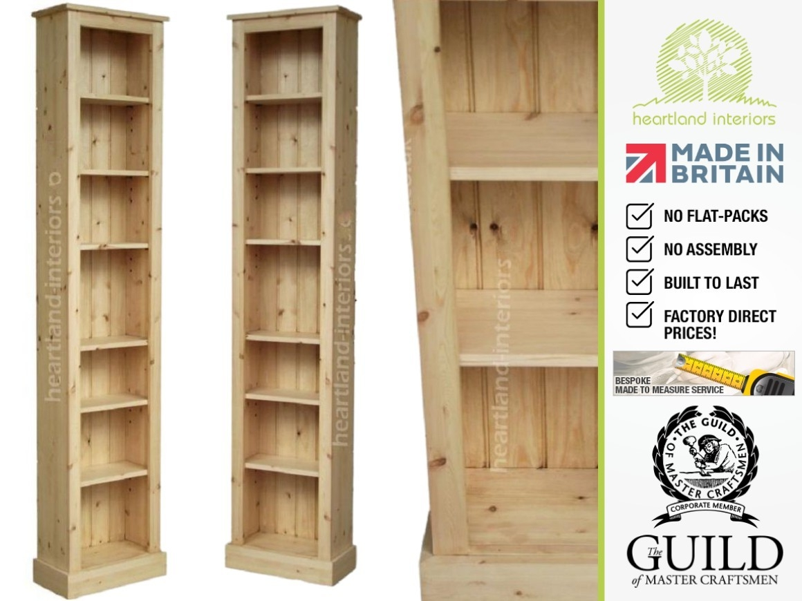Solid Pine Or Oak 7ft Tall Narrow Slim Jim Bookcase Regarding Flat Pack Bookcase (#14 of 15)