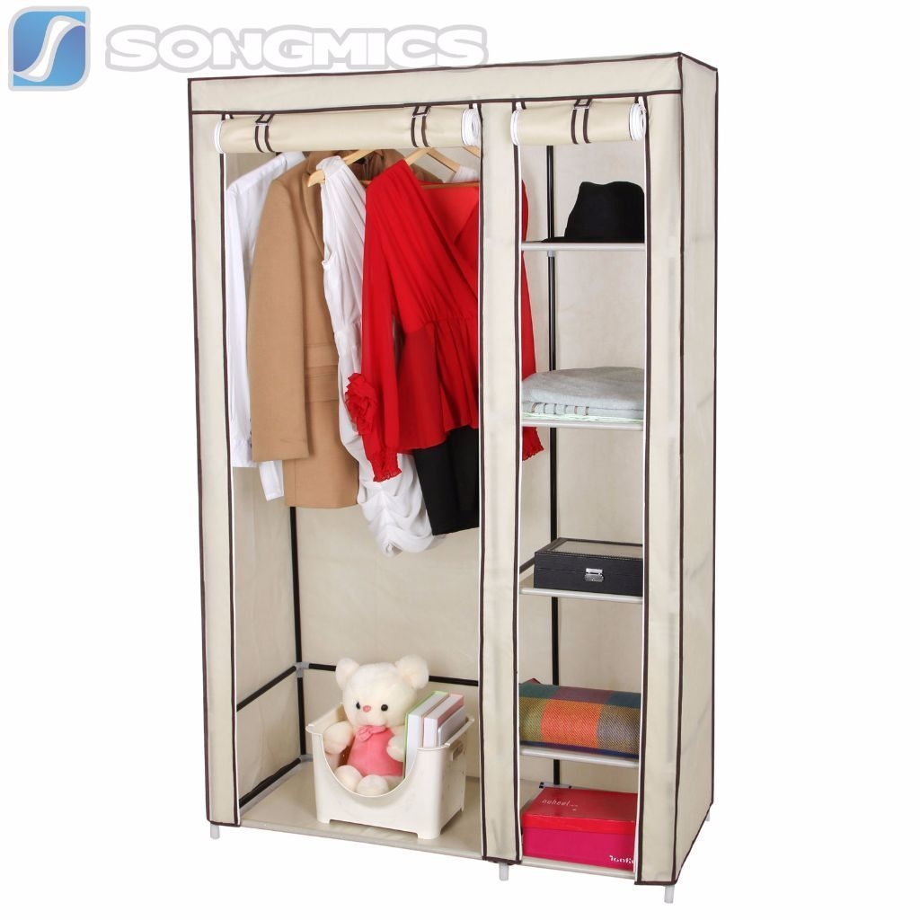 Songmics Double Canvas Wardrobe Clothes Hanging Rail Storage 175 X Within Wardrobe Double Hanging Rail (View 13 of 15)