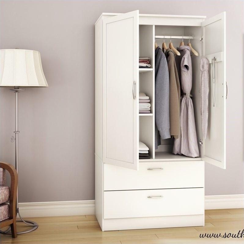 South Shore Acapella Wardrobe Armoire In Pure White 5350038 Inside White Wardrobe Armoire (View 7 of 15)
