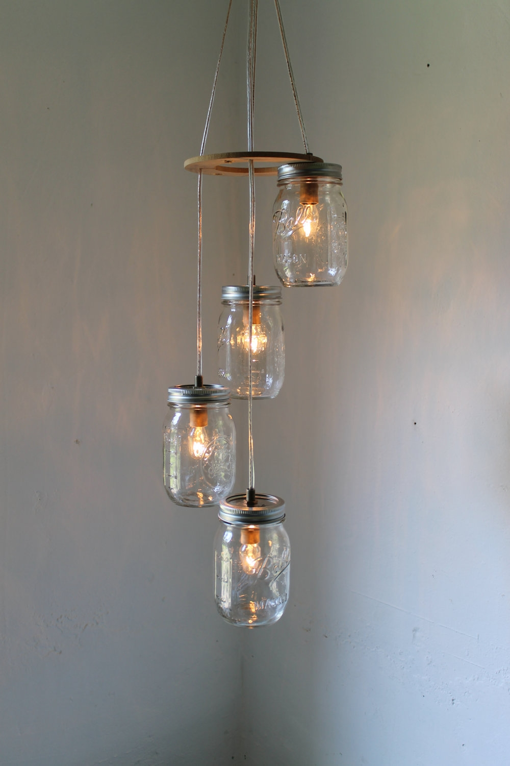 Spiral Mason Jar Chandelier Rustic Hanging Mason Jar Pendant Throughout Stairwell Chandeliers (#12 of 12)