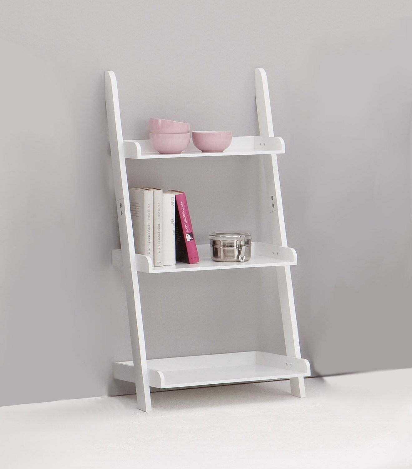 Statuette Of White Leaning Desk Remodel Inspiration Furniture Regarding White Ladder Shelf (View 11 of 15)