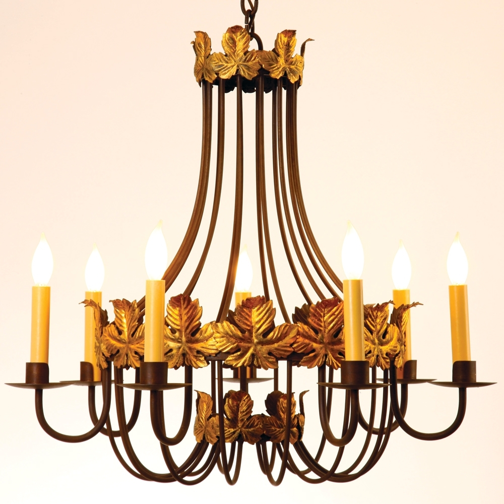 Steel Autumn Leaf 7 Candle Chandelier Pertaining To Candle Chandelier (#12 of 12)