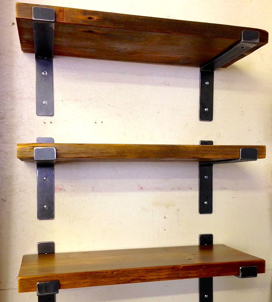 Steel Reclaimed Wood Wall Shelf Firewood And Wood Walls With Regard To Handmade Wooden Shelves (#13 of 15)