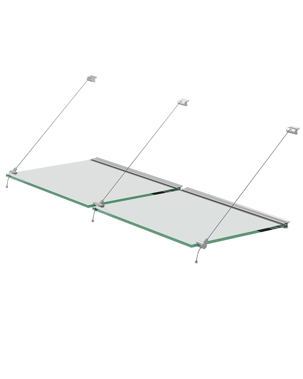 Steel Wire System Set For Glass Shelves Of 10mm Thickness With Pertaining To Glass Suspension Shelves (#13 of 15)