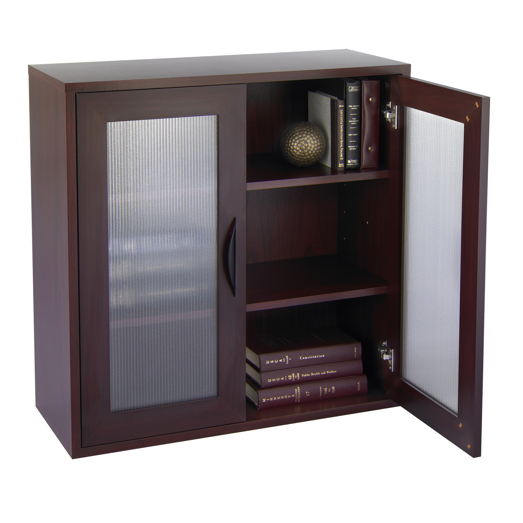 Storage Bookcase With Glass Doors 30 In High Mahogany Walmart With Bookcase With Doors (View 11 of 15)