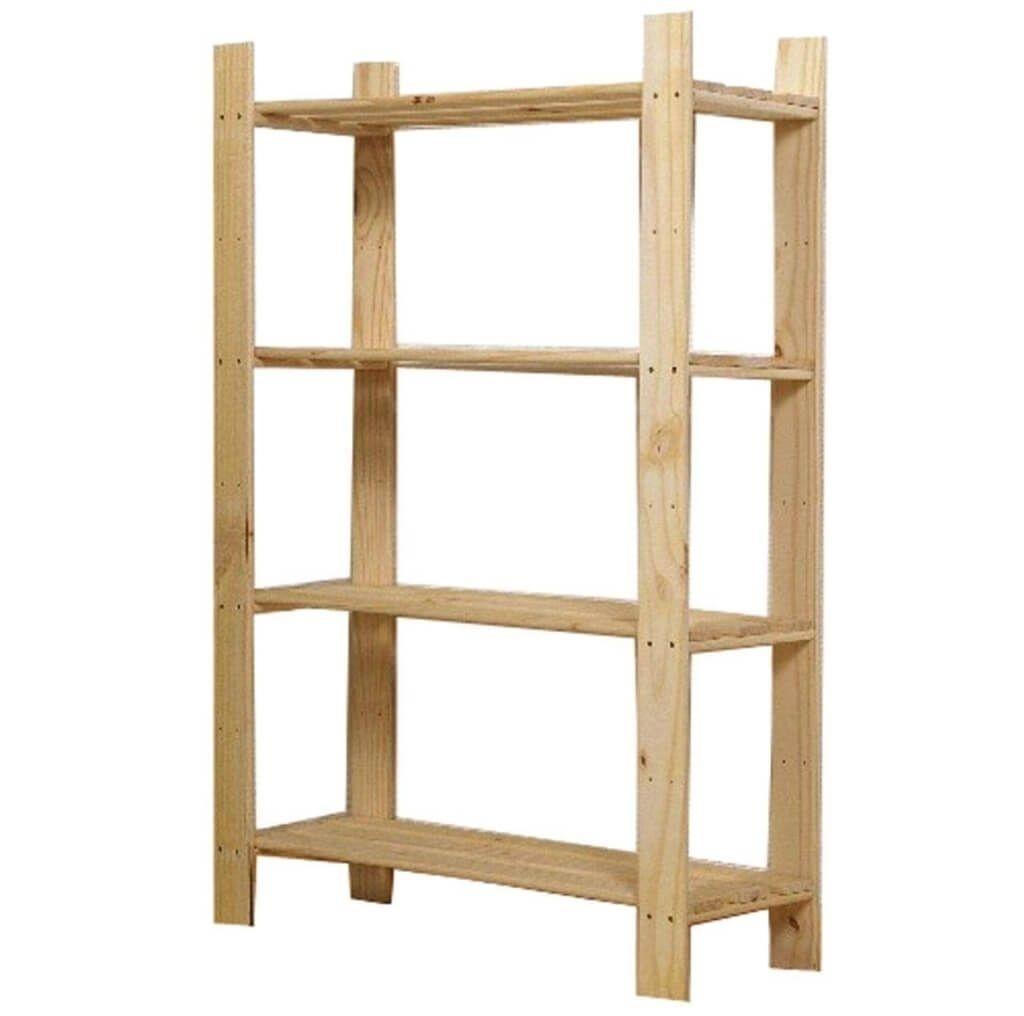 Storage Organization 4 Tier Sanded Pine Wood Shelving Unit Regarding Wooden Shelving Units (View 2 of 15)