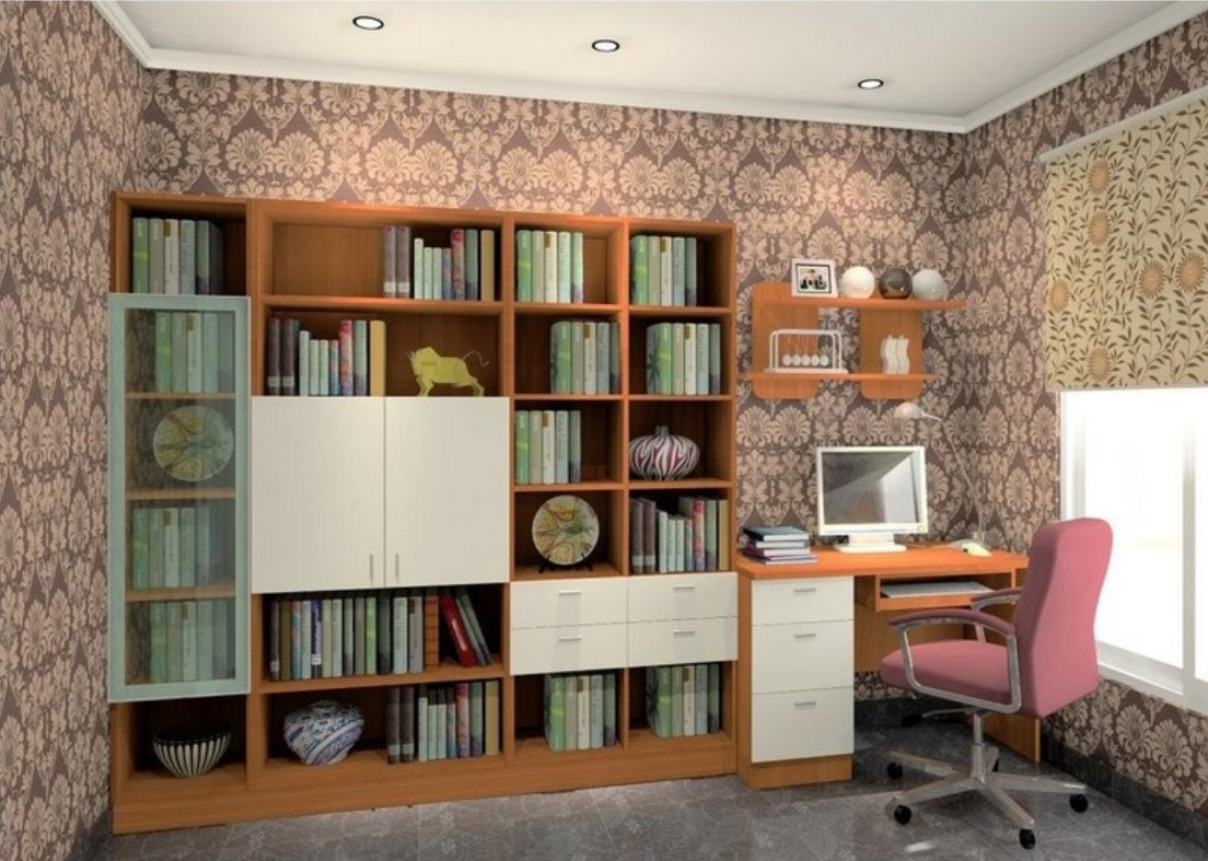 Study Room Bookcases And Wallpapers Design Ideas 3d House In Study Bookcases (#13 of 15)