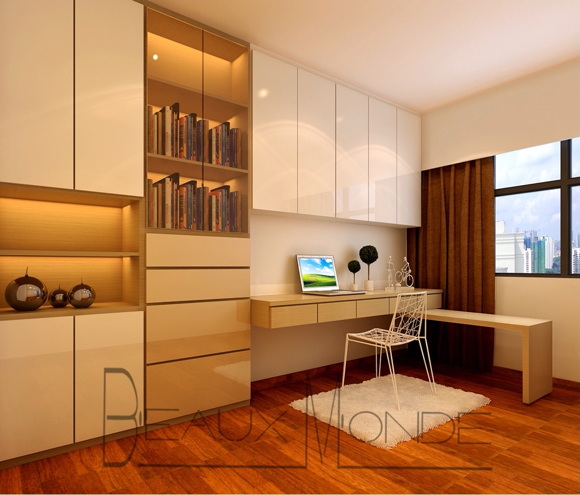 Study Room With Customized Top Hung Cabinets And Full Height Pertaining To Study Cupboard Designs (View 6 of 15)