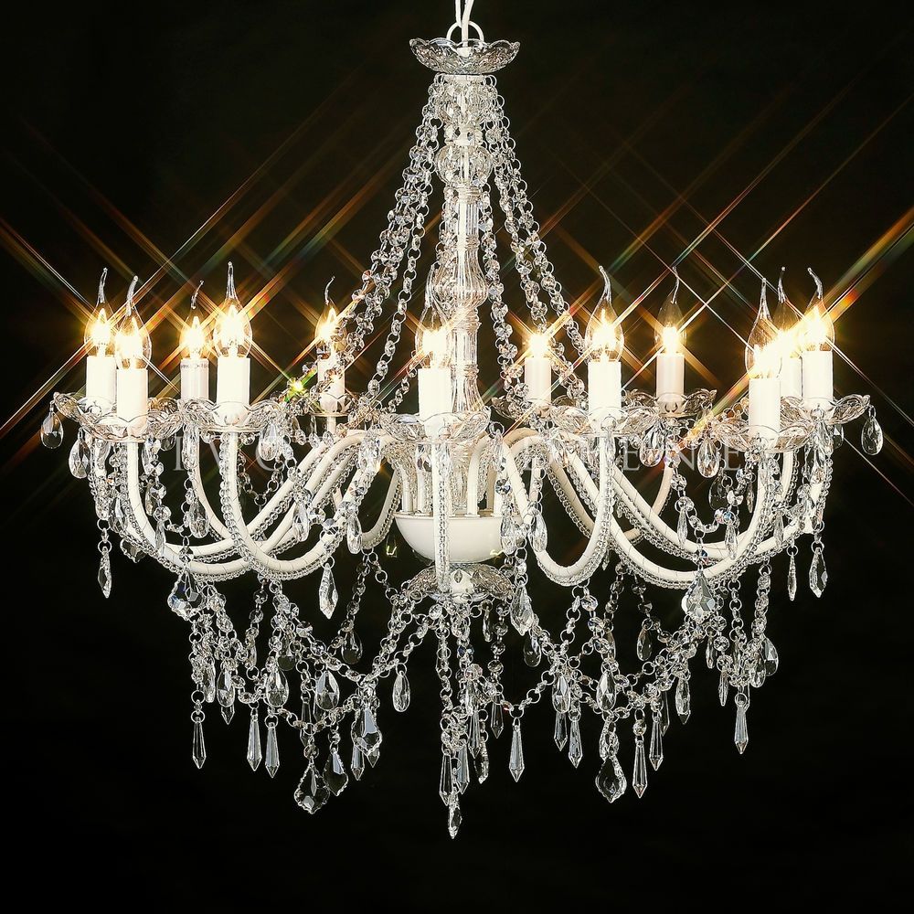 Stunning 12 Arm French Provincial Crystal Chandelier Shab Light Throughout Cream Crystal Chandelier (#11 of 12)
