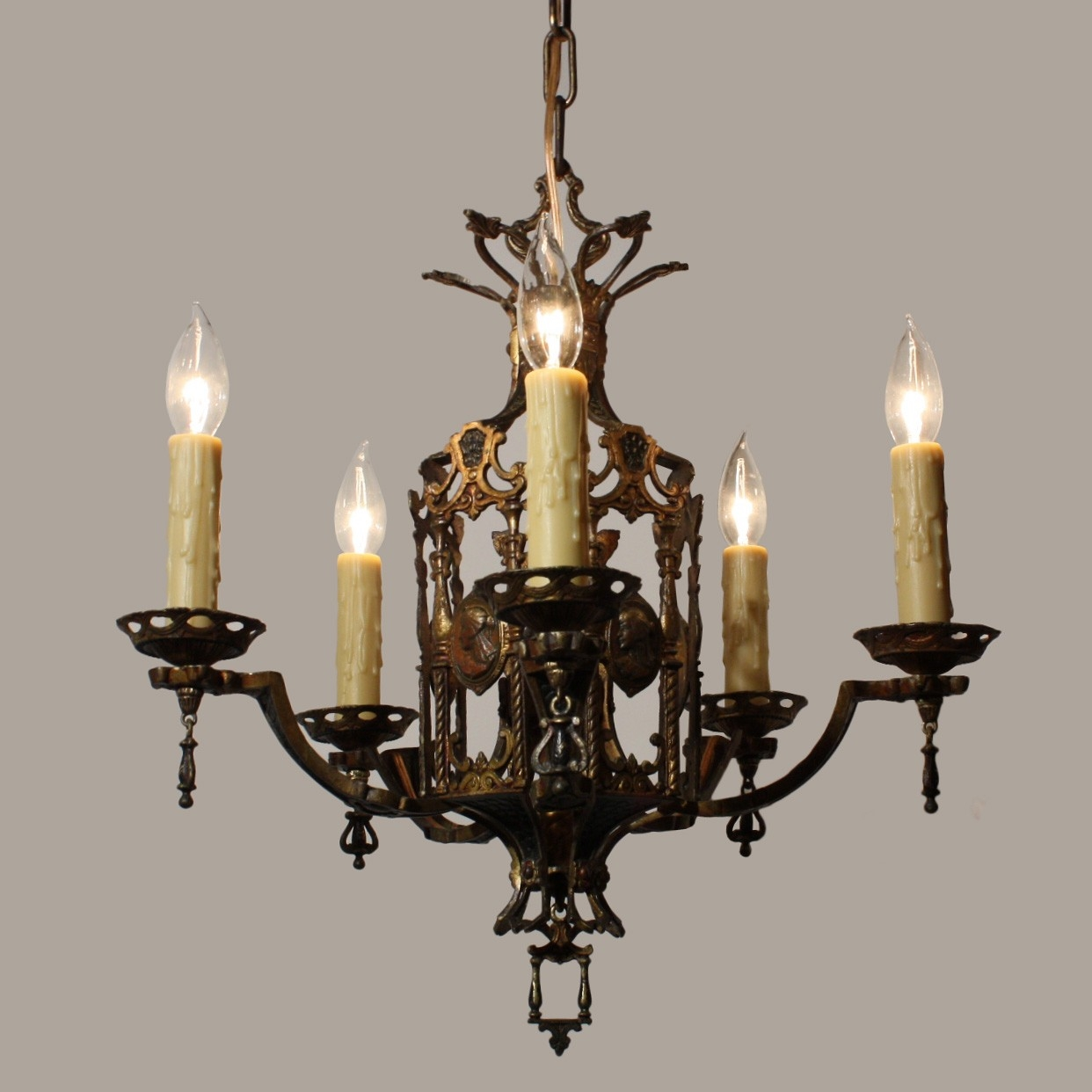 Stunning Antique Egyptian Revival Figural Chandelier With Cameos Inside Egyptian Chandelier (#11 of 12)