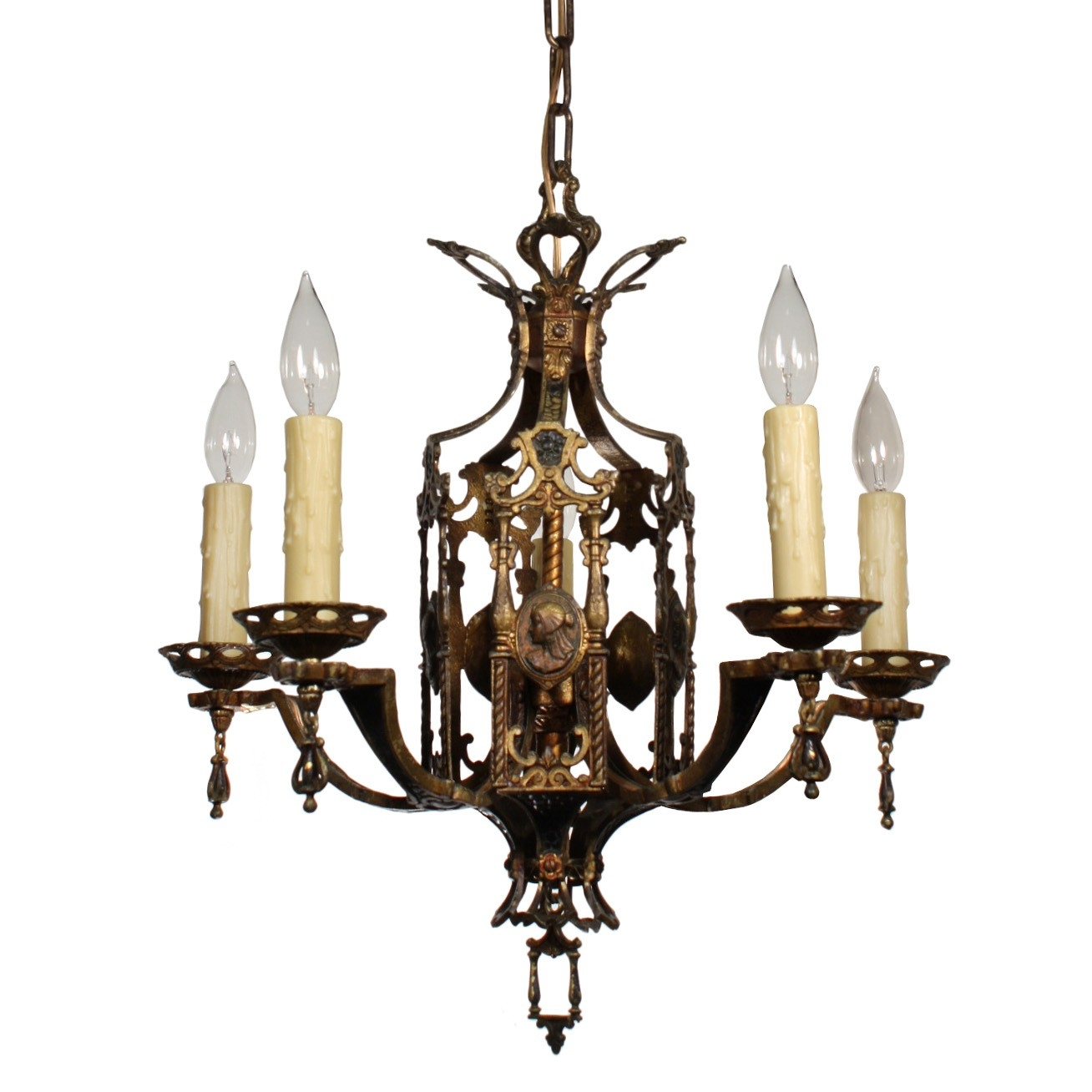 Stunning Antique Egyptian Revival Figural Chandelier With Cameos Pertaining To Egyptian Chandelier (View 4 of 12)