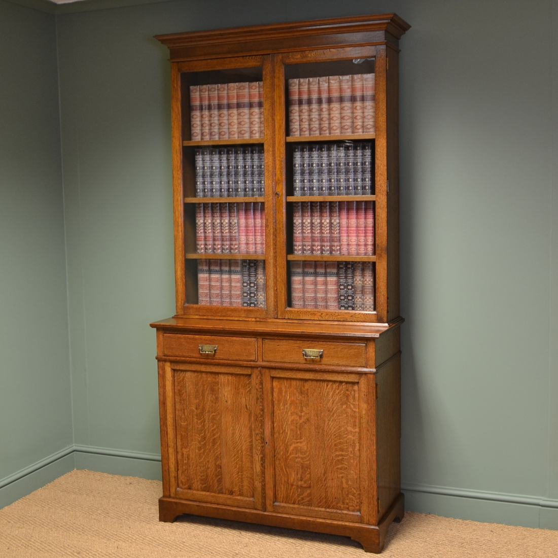 Stunning Maple Co Edwardian Oak Antique Glazed Bookcase On Regarding Cupboard Bookcase (#13 of 15)