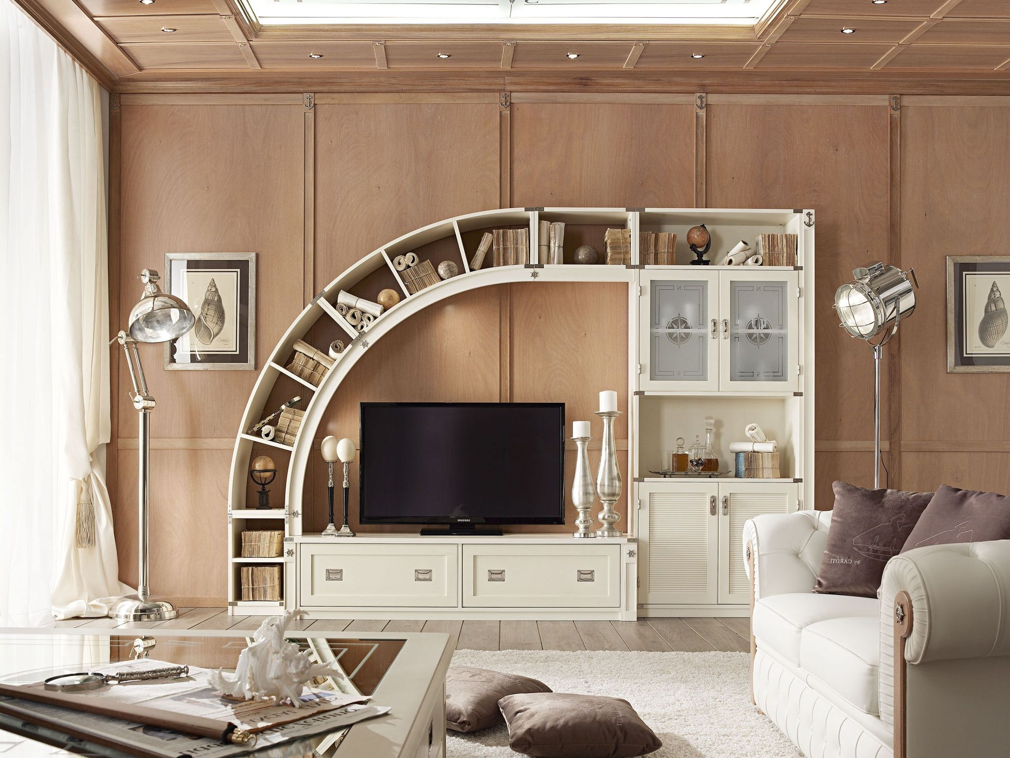 Stunning Modular Tv Stand With Cabinet And Curved Unique Bookcase Pertaining To Bookcase With Tv Space (View 14 of 15)