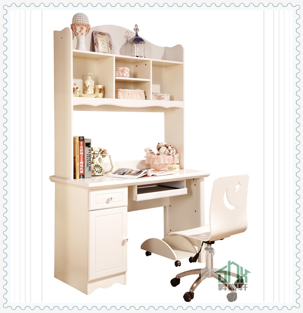 Stylish Children Study Desk Ha A Bookshelf Design Wooden Bookcase Throughout Study Desk With Bookshelf (#13 of 15)