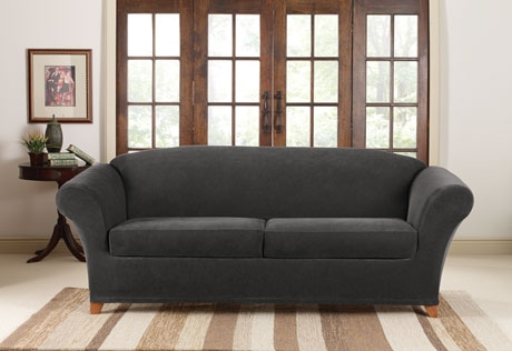 Sure Fit Stretch Pique 2 Seat Individual Cushion Sofa Covers Pertaining To Black Slipcovers For Sofas (#14 of 15)