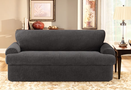 Sure Fit Stretch Pique Three Piece T Cushion Inside Black Slipcovers For Sofas (#15 of 15)