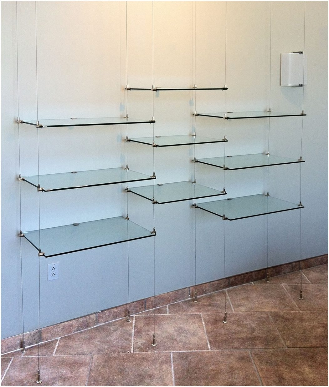 Suspended Glass Shelf Hardware Suspended Cable Shelves For Ventana Inside Cable Suspended Glass Shelves (#11 of 12)
